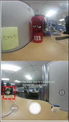 How do I switch cameras on my Samsung Gear 360 (2017)?