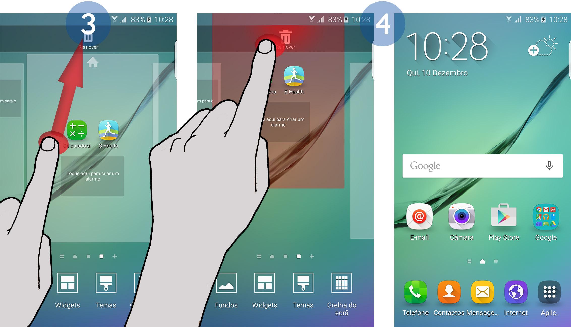 Galaxy S6 Edge Como remover um painel do ecrã Principal?