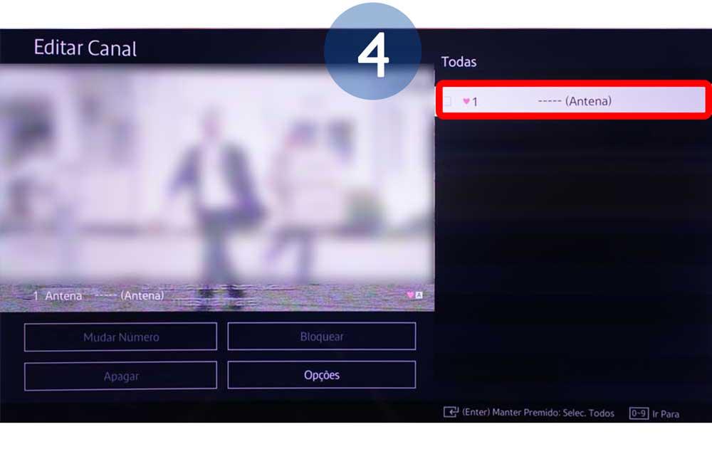 Selecione o canal que pretende alterar o número