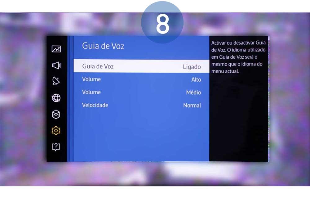 Agora o televisor fornece guias de voz para movimento de seleção