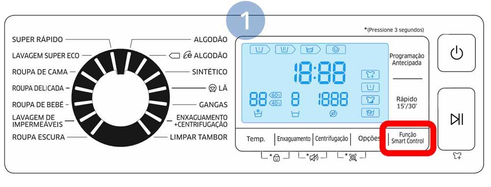 Toque em Função Smart Control na máquina de lavar para ativar o controlo remoto através da aplicação Smart Home