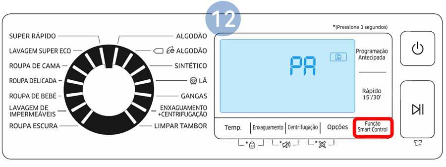 """Na máquina de lavar toque no botão Função Smart Control até ser apresentado o código """"PA"""" no visor LED"""