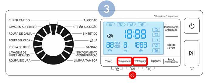 Para voltar a ativar o som, faça pressão novamente em Enxaguamento e Centrifugação durante 3 segundos