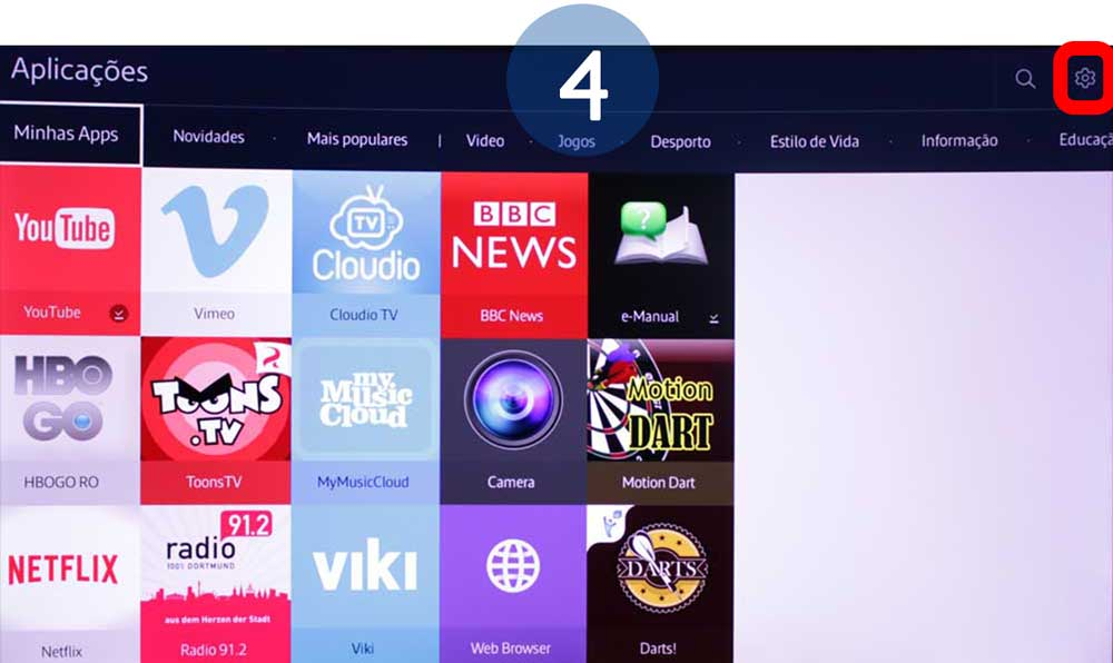 Selecione o ícone Opções na parte superior do ecrã