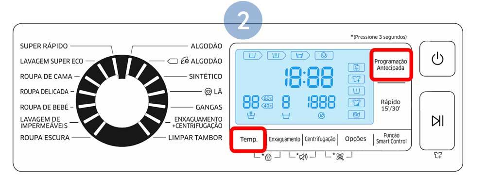 Carregue em Temp. e Programação Antecipada simultaneamente durante 3 segundos para entrar no modo Calibração