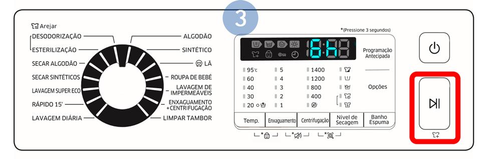Carregue em Iniciar/Pausa. O indicador correspondente é ativado com o relógio em funcionamento