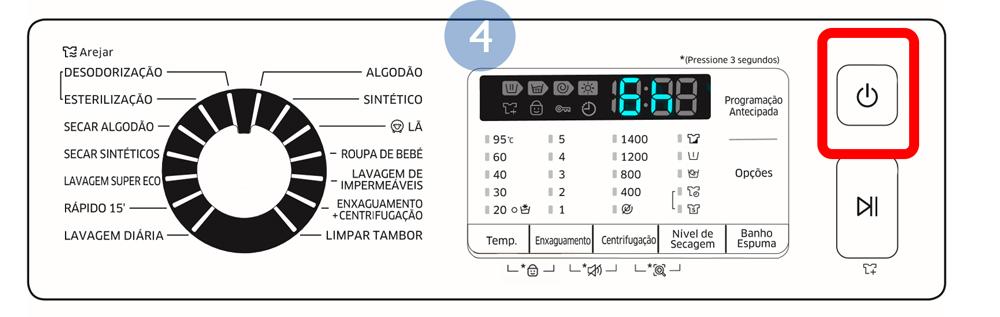 Para cancelar a opção Programação Antecipada, reinicie a máquina de lavar roupa, carregando em Ligar/ Desligar