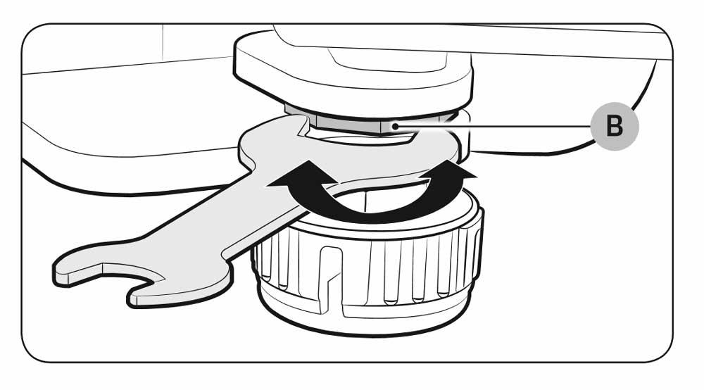 Regule a altura da porta rodando a porca de ajuste no sentido contrário ao dos ponteiros do relógio com uma chave inglesa