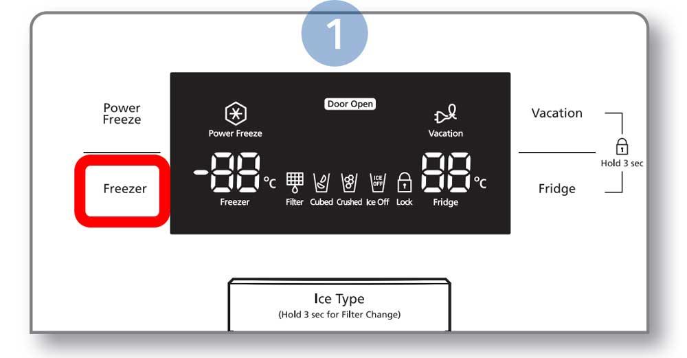 pressione o botão Freezer (congelador) repetidamente