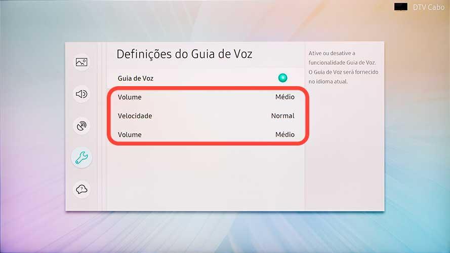 Poderá configurar o volume, tom, velocidade e nível do Guia de Voz