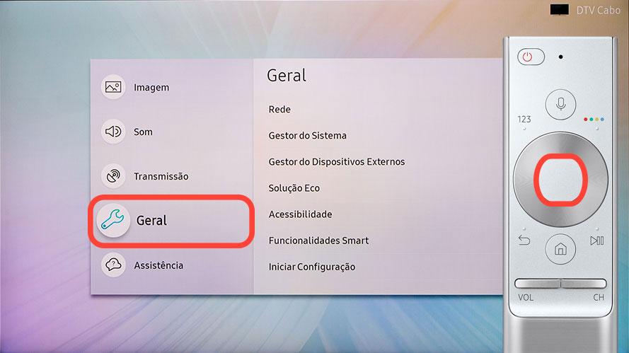 """Percorra o menu e selecione """"Geral"""""""