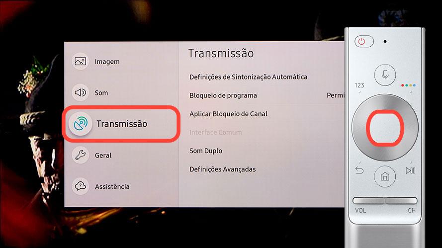 """Selecione """"Transmissão"""""""