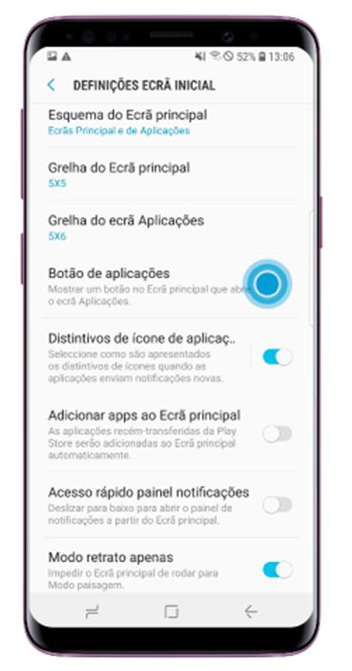 Toque em Botão de aplicações