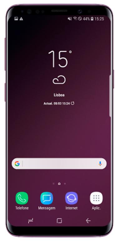 O botão Aplicações aparece como aplicação favorita na parte inferior do Ecrã inicial.