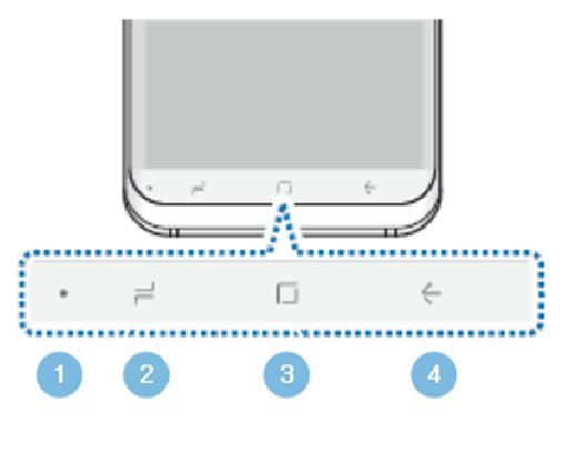 Pode navegar facilmente entre diferentes ecrãs e aplicações utilizando a barra de navegação na parte inferior do ecrã