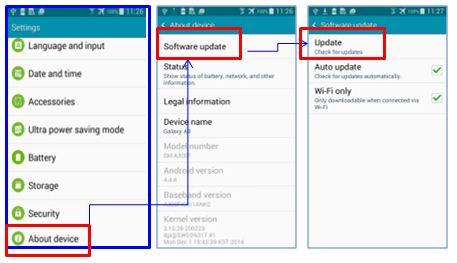 Pentru a verifica daca exista o actualizare de software disponibila pentru dispozitivul dumneavoastra