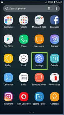 Tap settings on Apps Screen