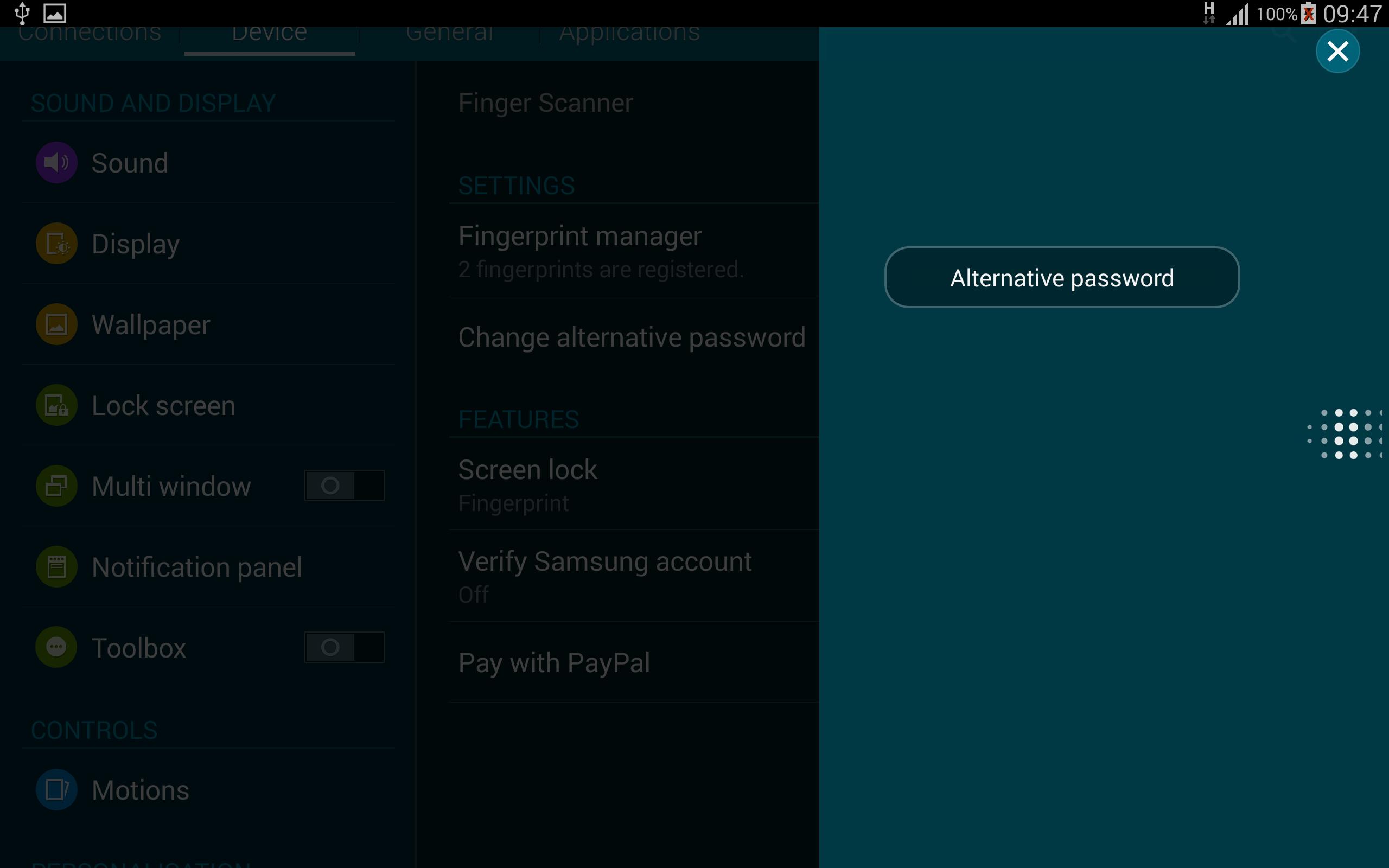 Key in Alternative Password