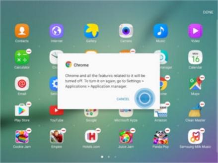 [Galaxy Tab A with S Pen 10.1] ขั้นตอนการปิดการใช้งานแอพพลิเคชั่นในหน้าจอแอพ
