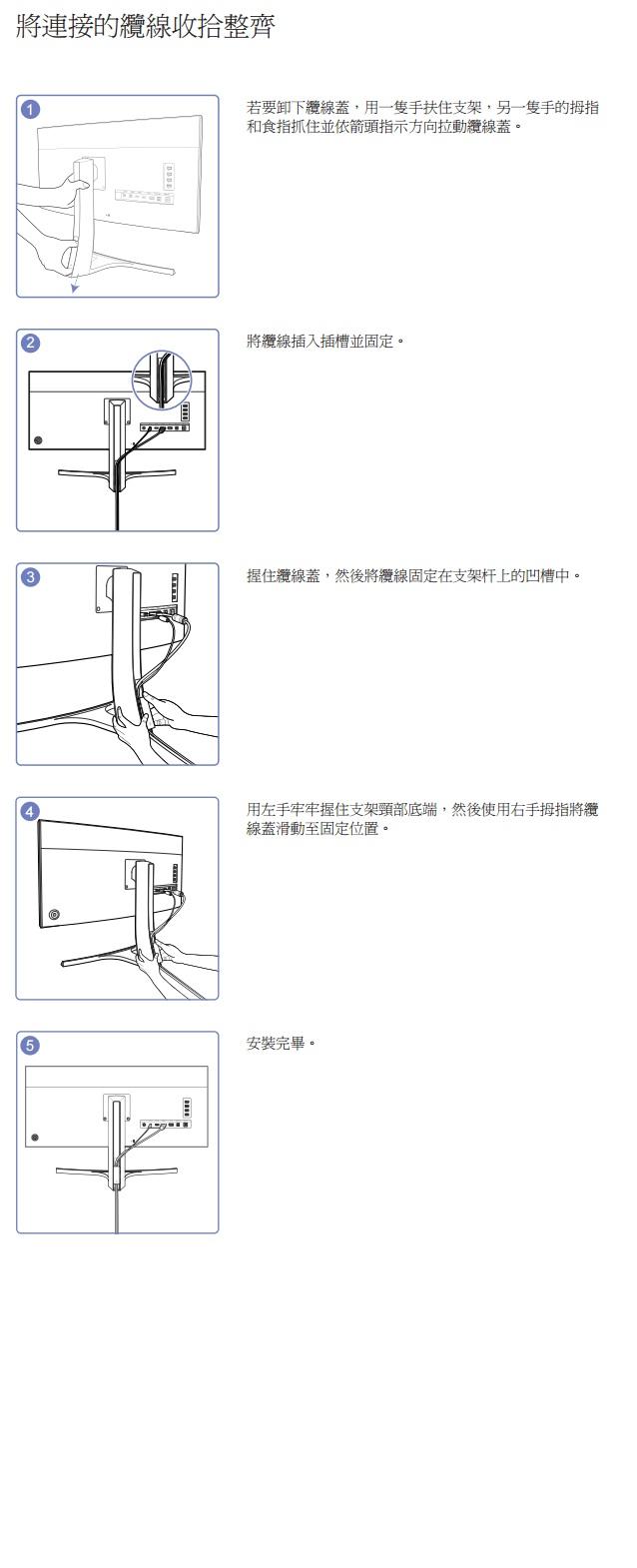 如何拆卸螢幕後方纜線蓋?