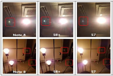 Galaxy Note 8 拍照時,相機拍到了其他光源,這是相機的問題嗎?