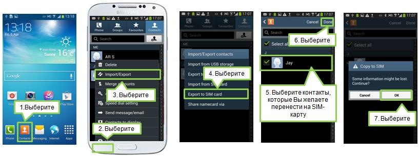 Як скопіювати контакт з телефону на Sim-карту в Galaxy S4?