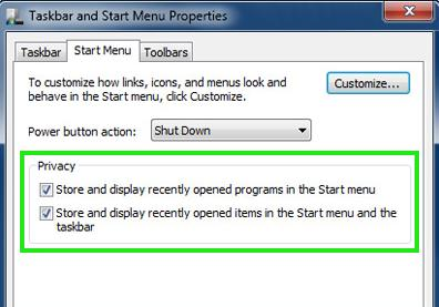 Taskbar and Start Menu Properties