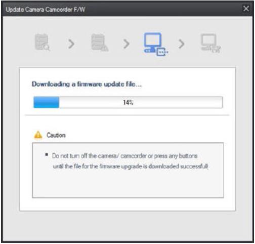 How do I update my Samsung camera's firmware through Intelli-Studio on my PC?