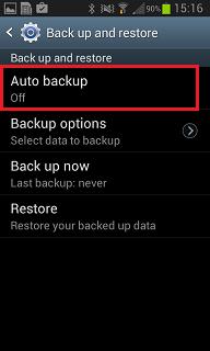 Select Auto backup