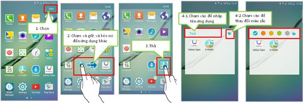 Làm thế nào để tạo thư mục trên màn hình ứng dụng của Galaxy A7 (2016)?