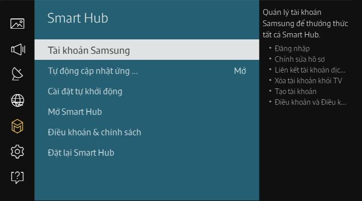 Làm thế nào để tạo một tài khoản Samsung trên TV UA65JS9000?