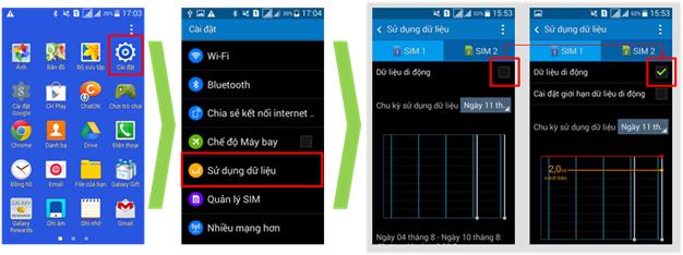 Làm thế nào để thiết lập dữ liệu di động cho máy Galaxy J7?