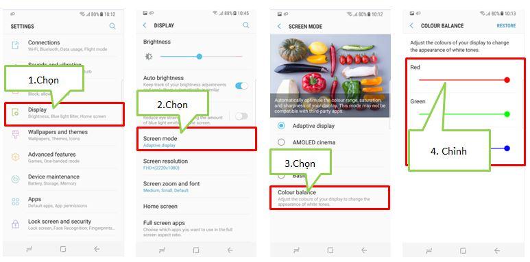 Hiện tượng màu sắc màn hình Galaxy S8/S8 plus hiển thị hơi đỏ hoặc nền trắng?