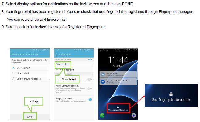 How do I register a fingerprint on my Samsung Galaxy S7/S7 Edge?