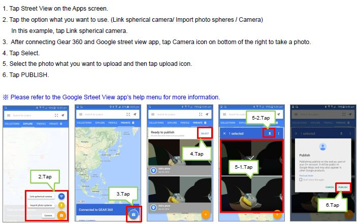 How do I upload a photo on Google map via Google street view app?