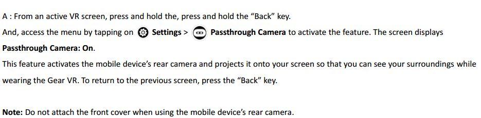 Gear VR passthrough camera