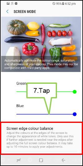 Tap Screen edge color balance