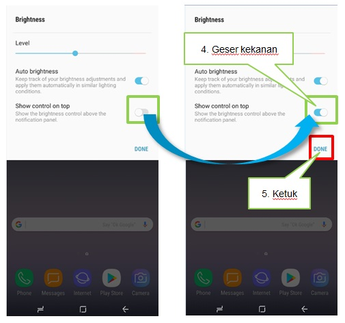 Bagaimana menampilkan Pengaturan Pencahayaan Layar pada panel notifikasi Note 8?