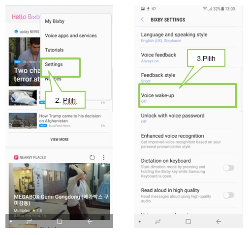 Bagaimana cara mengatur voice wake up pada Bixby Note 8?