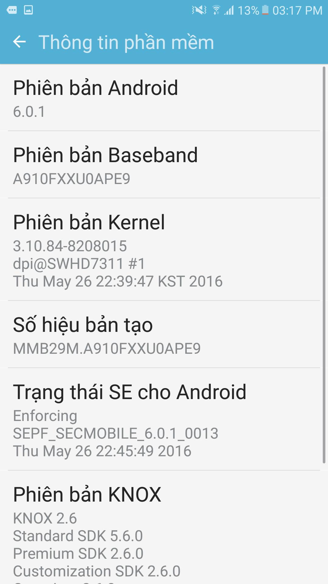 Kiểm tra phiên bản phần mềm trên điện thoại